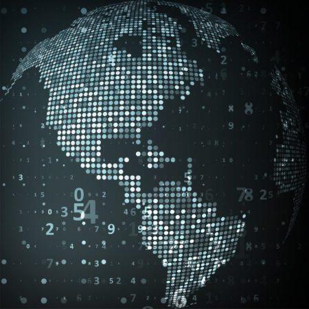 A Pixelated Planet Globe Wallpaper